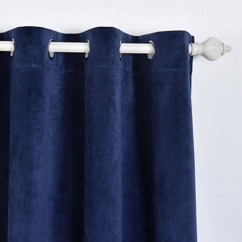 "Blackout Curtains Premium Velvet 52""X96"" Navy Blue Pack of 2 Thermal Insulated With Chrome Grommet Window Treatment Panels"