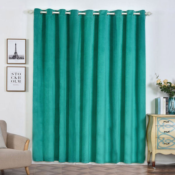 "Pack of 2 | 52""X96"" Teal 330 GSM Premium Velvet Thermal Blackout Curtains With Chrome Grommet Window Treatment Panels"