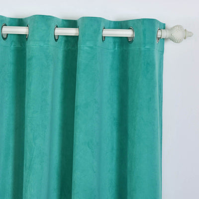 "Blackout Curtains Premium Velvet 52""X96"" Teal Pack of 2 Thermal Insulated With Chrome Grommet Window Treatment Panels"
