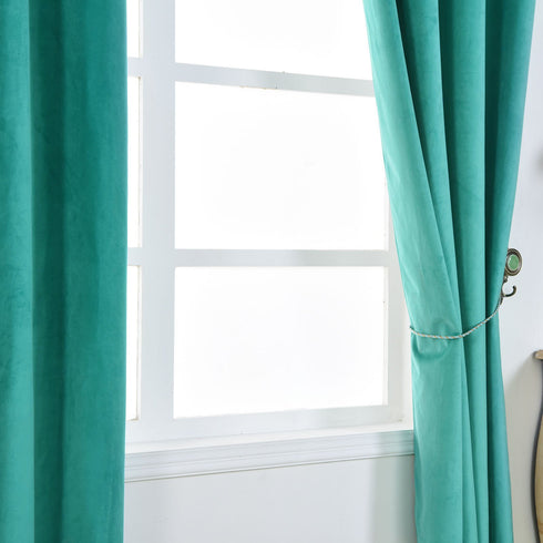 "2 Pack | 52""X96"" Teal Premium Velvet Blackout Curtain Panels 
