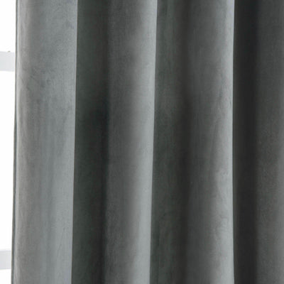 "Blackout Curtains Soft Velvet 52""x64"" Charcoal Gray Pack of 2 Thermal Insulated With Chrome Grommet Window Treatment Panels"