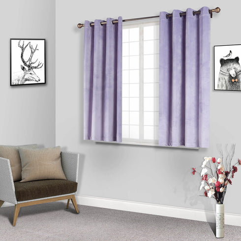 "2 Pack | 52""X64"" Lavender Soft Velvet Thermal Blackout Curtains With Chrome Grommet Window Treatment Panels"