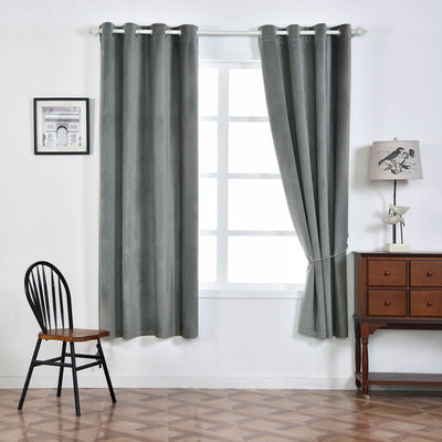 "Blackout Curtains Soft Velvet 52""x84"" Charcoal Gray Pack of 2 Thermal Insulated With Chrome Grommet Window Treatment Panels"