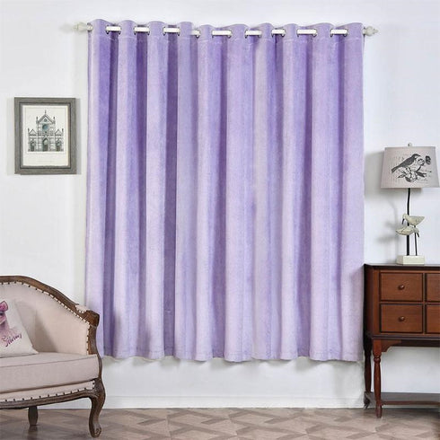 "2 Pack | 52""X84"" Lavender Soft Velvet Thermal Blackout Curtains With Chrome Grommet Window Treatment Panels"