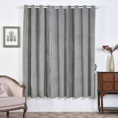 "2 Pack | 52""X84"" Silver Soft Velvet Thermal Blackout Curtains With Chrome Grommet Window Treatment Panels"