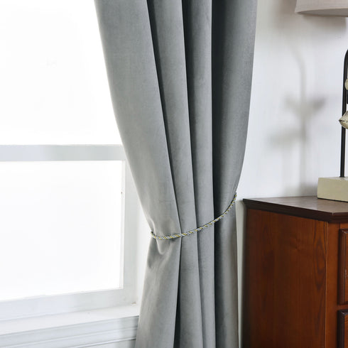 "Pack of 2 | 52""X96"" Charcoal Gray Soft Velvet Thermal Blackout Curtains With Chrome Grommet Window Treatment Panels"