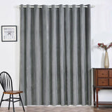 "2 Pack | 52""X96"" Charcoal Grey Soft Velvet Thermal Blackout Curtains With Chrome Grommet Window Treatment Panels"