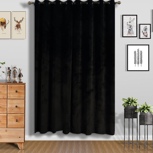 "2 Pack | 52""X96"" Black Soft Velvet Thermal Blackout Curtains With Chrome Grommet Window Treatment Panels"