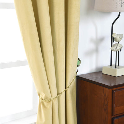 "Blackout Curtains Soft Velvet 52""x96"" Champagne Pack of 2 Thermal Insulated With Chrome Grommet Window Treatment Panels"