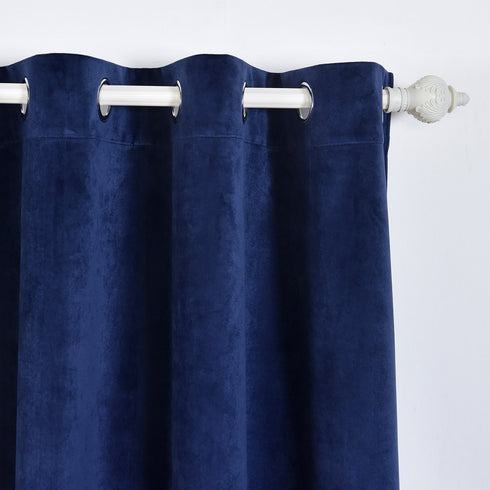 "Blackout Curtains Soft Velvet 52""x96"" Navy Blue Pack of 2 Thermal Insulated With Chrome Grommet Window Treatment Panels"