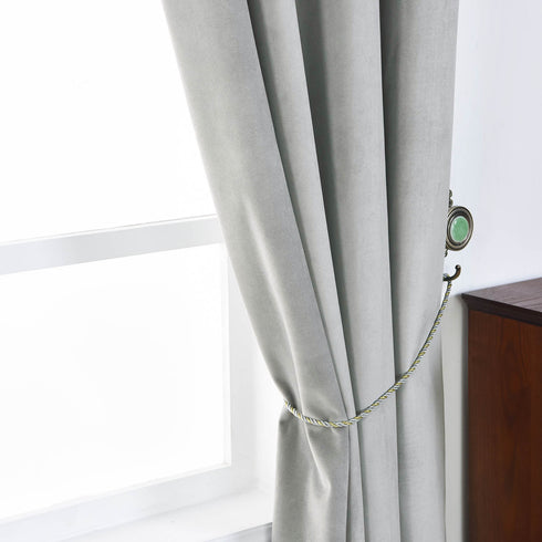 "Blackout Curtains Soft Velvet 52""x96"" Silver Pack of 2 Thermal Insulated With Chrome Grommet Window Treatment Panels"