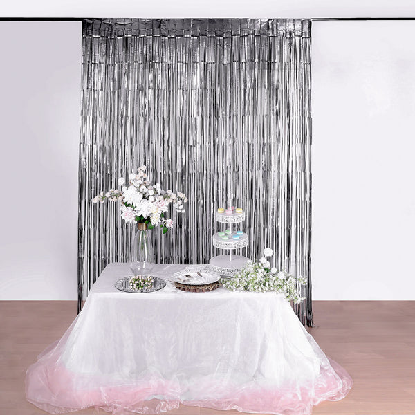 8ft Matte Charcoal Gray Metallic Foil Fringe Curtain - Doorway and Party Backdrop Curtain