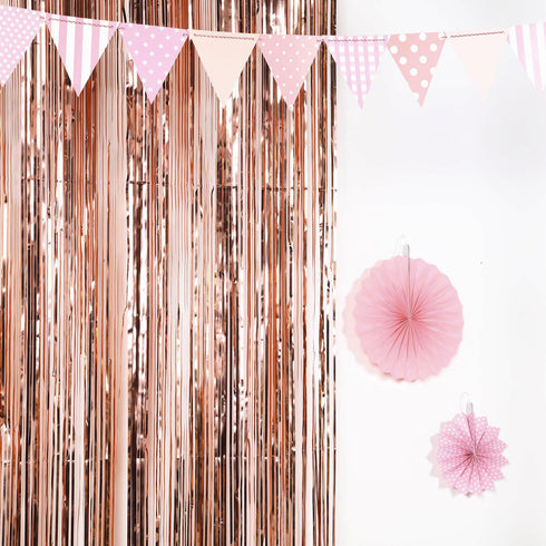 8ft Blush | Rose Gold Metallic Foil Shimmer Fringe Curtain