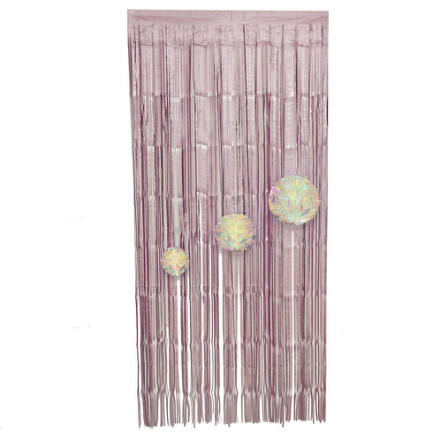 8ft Dusty Rose Metallic Foil Fringe Curtain - Doorway and Party Backdrop Curtain