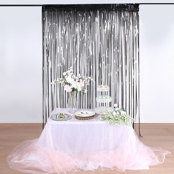 8ft Black Metallic Foil Fringe Curtain - Doorway and Party Backdrop Curtain