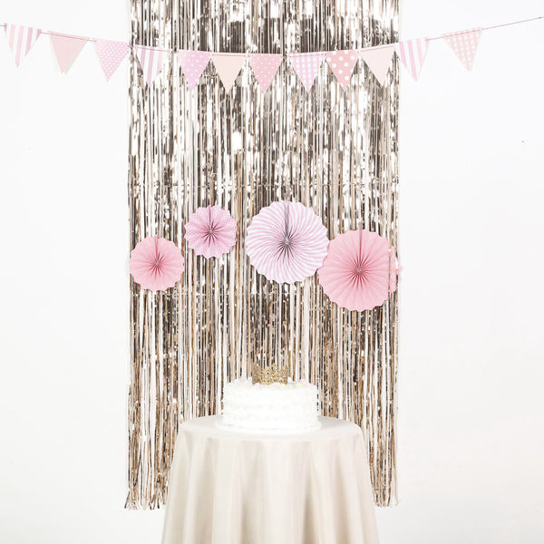 8ft Champagne Metallic Foil Shimmer Fringe Curtain