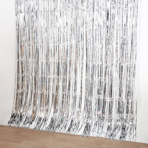 8ft Silver Metallic Foil Shimmer Fringe Curtain