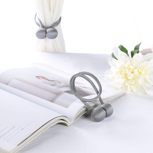 Pack of 2 | Silver Magnetic Curtain Tie Backs for Window Curtains and Drapes