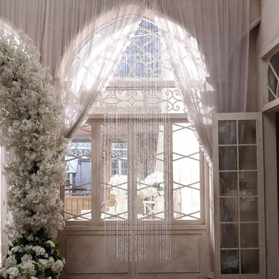 12ft Crystal Diamond Beaded Curtain with Bendable Plastic Rod