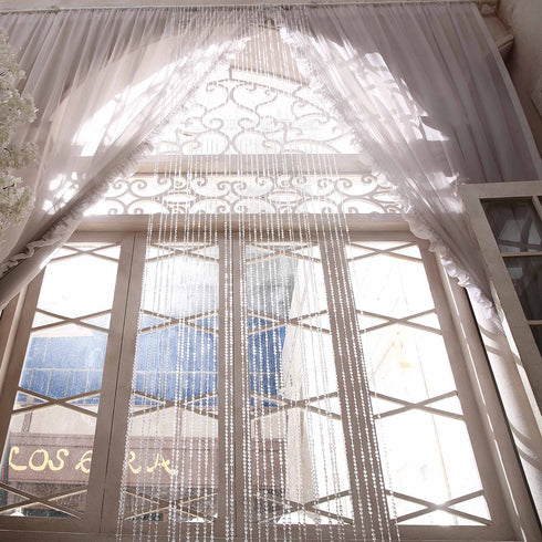 36 Sq Ft Crystal Diamond Beaded Curtain with Bendable Plastic Rod