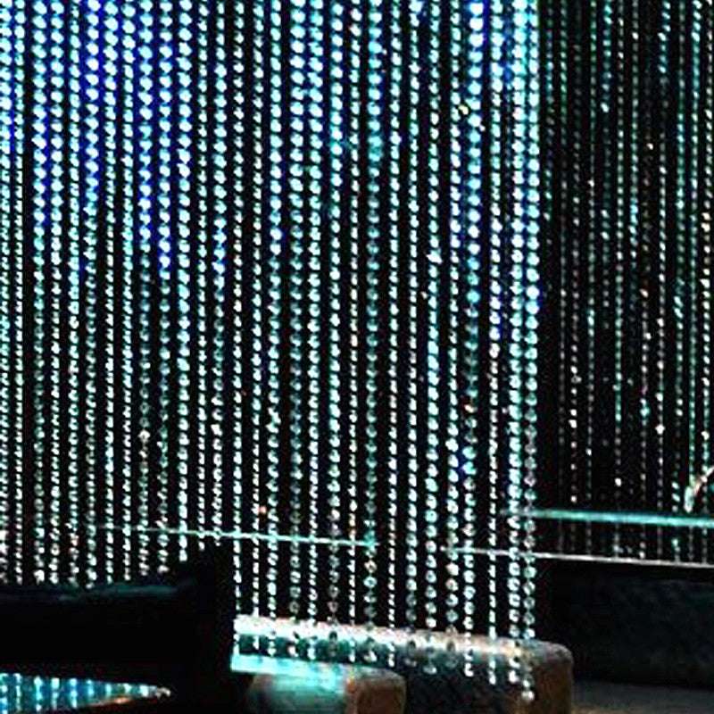 20ft x 3ft Clear Diamond Strand Acrylic Crystal Bead Curtain Backdrop Wedding Party Decor - Bendable Rod Top