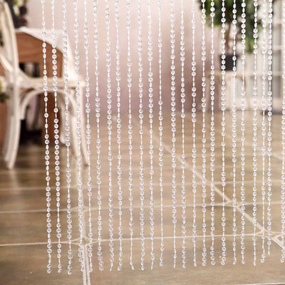 24 Sq Ft Crystal Diamond Beaded Curtain With Bendable Plastic Rod Efavormart