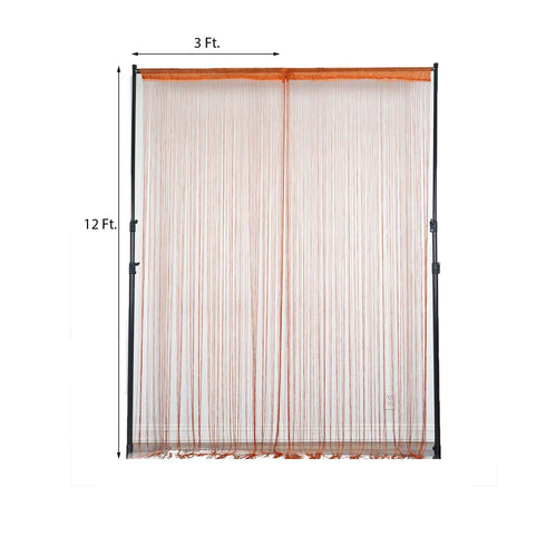 12FT Long Coral Silk String Tassels Backdrop Curtains for Party