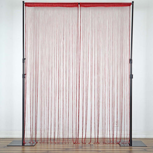 3ft x 12ft Burgundy Silk Tassel Door String Curtain