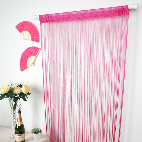 12 Ft Long Fushia Silk String Tassels Backdrop Curtains for Party
