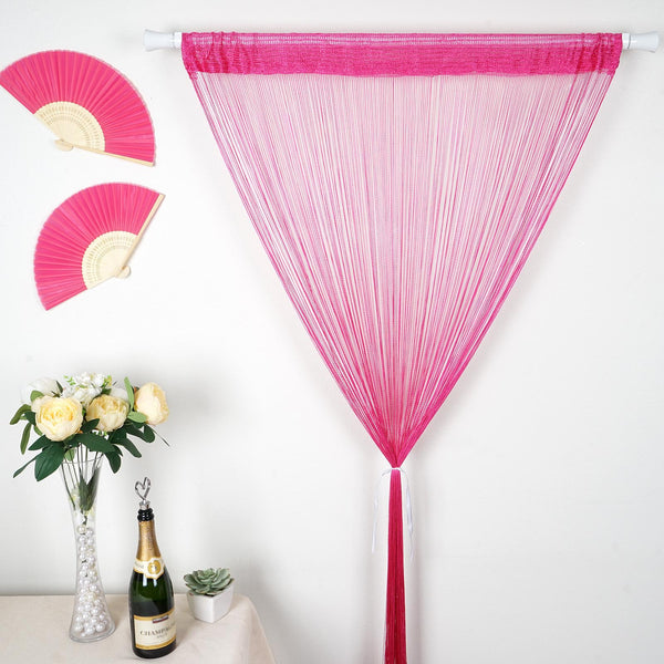 12FT Long Fushia Silk String Tassels Backdrop Curtains for Party