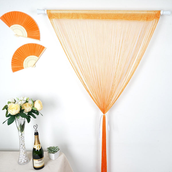 12FT Long Orange Silk String Tassels Backdrop Curtains for Party