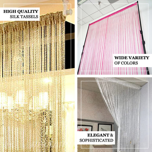 8FT Long White Silk String Tassels Backdrop Curtains for Party