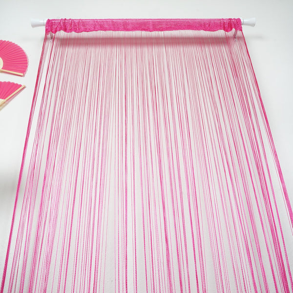 8FT Long Fushia Silk String Tassels Backdrop Curtains for Party