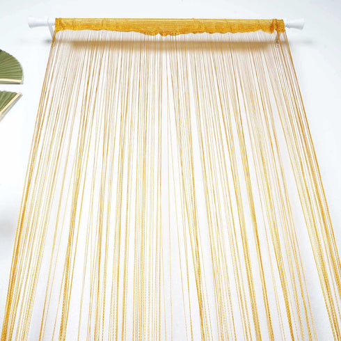 8 Ft Long Gold Silk String Tassels Backdrop Curtains for Party