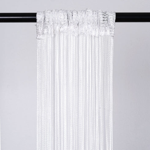 3ft x 8ft White Fringe Inspired String Tassel Curtain