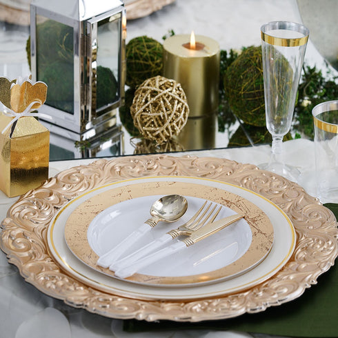 "Set of 6 - 14"" Round Metallic Gold Plastic Charger Plates With Engraved Baroque Design Rim"