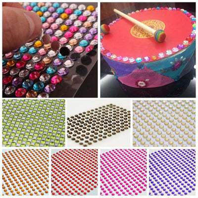 1056 Pcs Gold Diamond Rhinestone Stickers