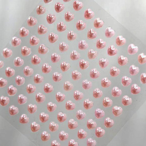 600 Pcs Pink Diamond Rhinestone Heart Shaped Stickers