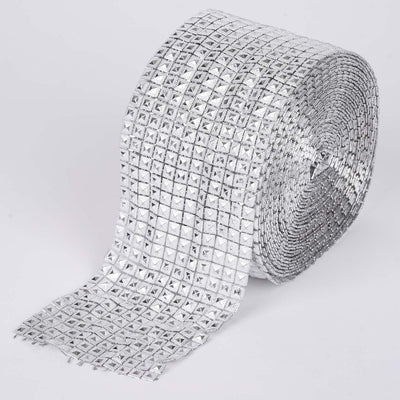 "4.5""x10 Yards Silver Diamond Mesh Wrap Roll Sparkle Rhinestone Trim by the Yard"