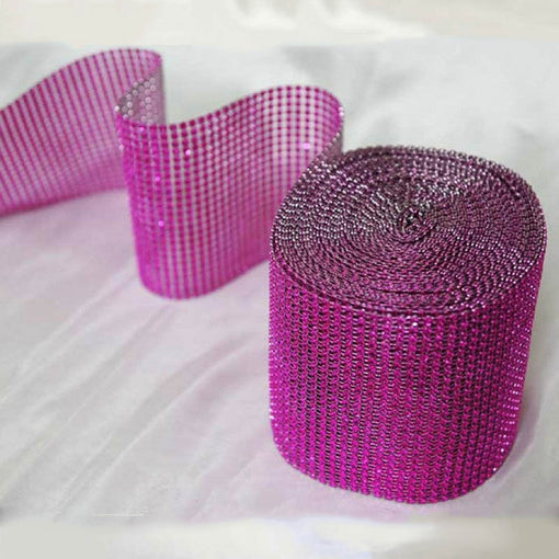 "5""x 10 Yards Fushia Diamond Rhinestone Ribbon Wrap Roll"