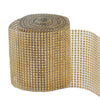 "5""x 10 Yards Gold Diamond Rhinestone Ribbon Wrap Roll"