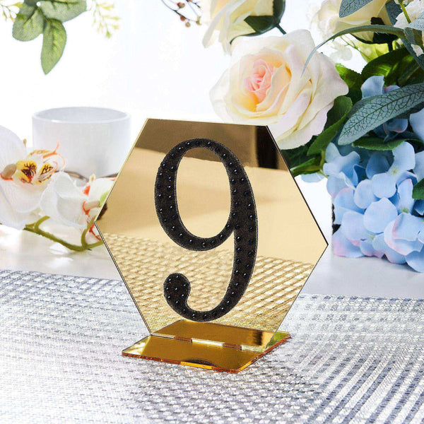 "4"" Black Self-Adhesive Rhinestone Number Stickers for DIY Crafts - 9"