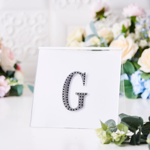 "4"" Black Self-Adhesive Rhinestone Letter Stickers, Alphabet Stickers for DIY Crafts - G"