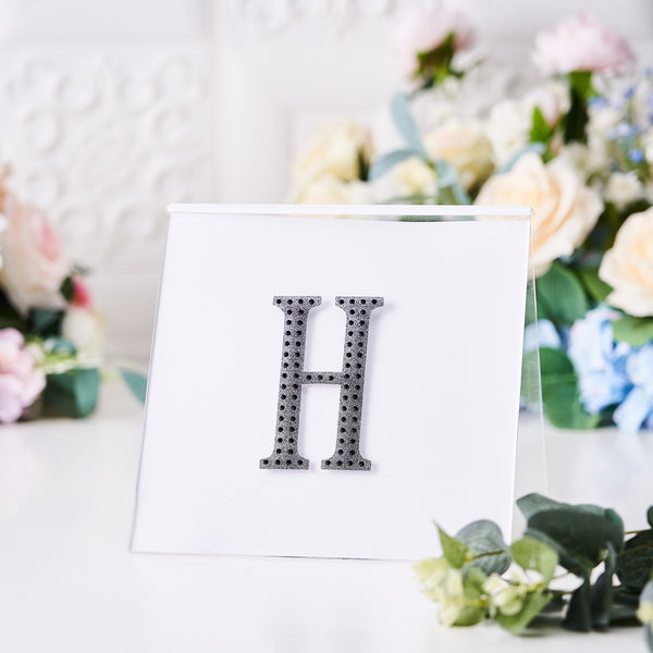 "4"" Black Self-Adhesive Rhinestone Letter Stickers, Alphabet Stickers for DIY Crafts - H"