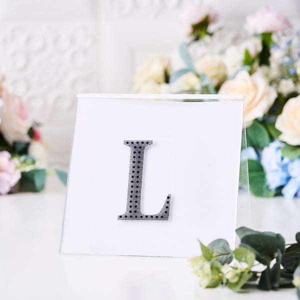"4"" Black Self-Adhesive Rhinestone Letter Stickers, Alphabet Stickers for DIY Crafts - L"