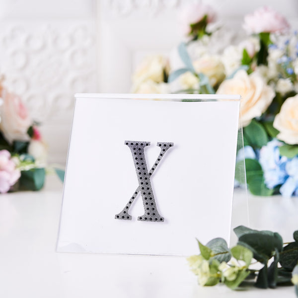 "4"" Black Self-Adhesive Rhinestone Letter Stickers, Alphabet Stickers for DIY Crafts - X"