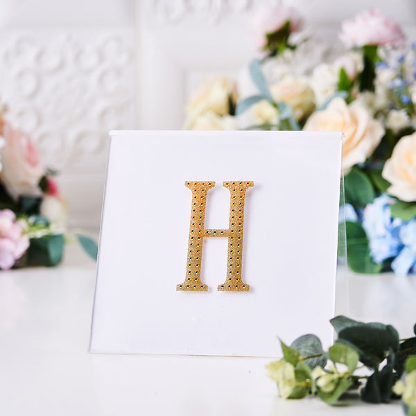"4"" Gold Self-Adhesive Rhinestone Letter Stickers, Alphabet Stickers for DIY Crafts - H"