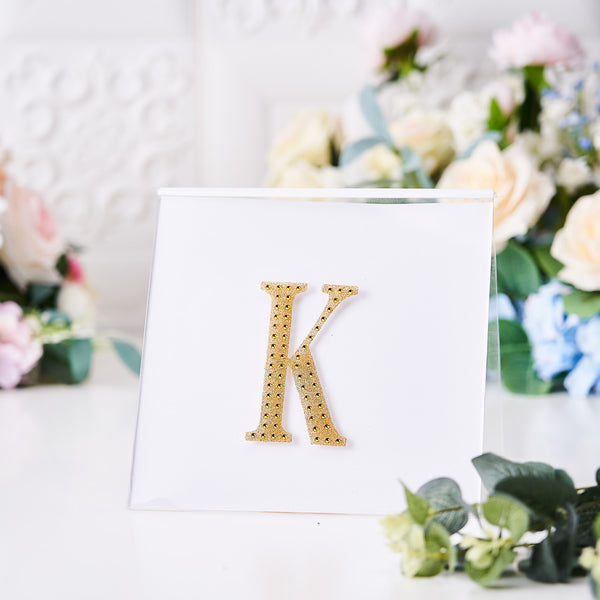 "4"" Gold Self-Adhesive Rhinestone Letter Stickers, Alphabet Stickers for DIY Crafts - K"