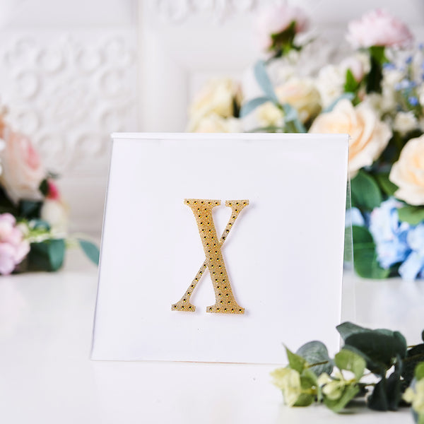 "4"" Gold Self-Adhesive Rhinestone Letter Stickers, Alphabet Stickers for DIY Crafts - X"