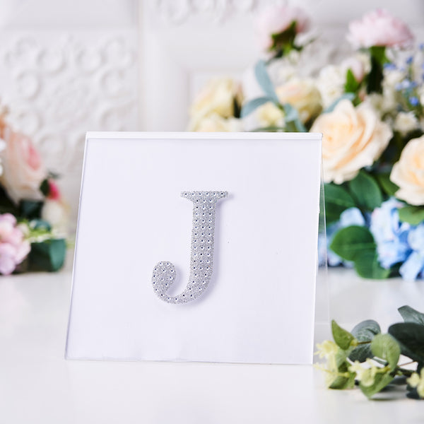 "4"" Silver Self-Adhesive Rhinestone Letter Stickers, Alphabet Stickers for DIY Crafts - J"